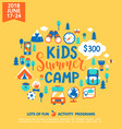 kids summer camp with a lot of camping equipment vector image vector image