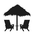 loungers with straw umbrella abstract silhouette vector image vector image