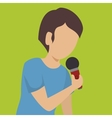 man singing isolated icon design vector image vector image