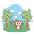 monkey outdoors cartoon vector image