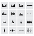 music soundwave icon set vector image vector image