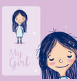 my cute girl cartoon vector image vector image