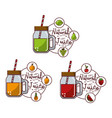 natural juice fruits tasty glass jars set vector image