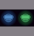 neon vr glasses in blue and green color vector image vector image