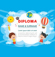 of preschool kids diploma vector image vector image