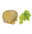 Old wooden barrel and grapes cluster vector image