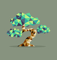 Origami triangle Bonsai tree vector image vector image