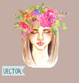 portrait of beautiful young woman with beautiful vector image vector image
