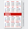 portuguese brazilian calendar grid for 2021 vector image vector image