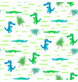 seamless crocodile kid cartoon pattern vector image vector image