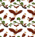 Seamless eagles flying and branch vector image vector image