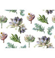 seamless pattern of succulent cactus plants vector image