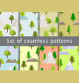 seamless patterns with flat trees tents vector image vector image
