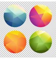 Set of color origami spheres vector image