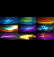 set of continuous neon waves in dark night vector image