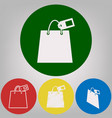 shopping bag sign with tag 4 white styles vector image vector image