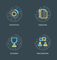 statistics checking success discussions set of 4 vector image vector image