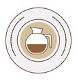 sticker stamp circular with glass jar of coffee vector image vector image