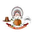 thanksgiving day symbols set vector image vector image