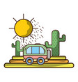 travel van riding on nature vector image