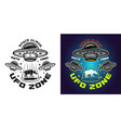 ufo stealing cow emblem badge label logo vector image vector image