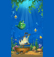 vertical background - undersea world with ship vector image vector image