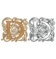 vintage initial letter d with baroque decoration vector image vector image