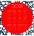 watercolor calendar template 2021 year vector image