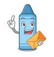 With envelope blue crayon in cartoon column