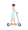 woman riding an electric scooter vector image vector image