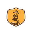 Amish Carpenter Holding Hammer Crest Retro vector image vector image