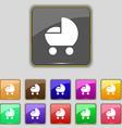 baby pram icon sign Set with eleven colored vector image