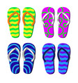 beach slippers with pattern isolated for vector image