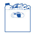 big paper bag with handle and foods sausage and vector image