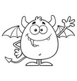 black and white happy devil character waving vector image