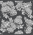 black and white pattern with peony flowers in vector image vector image