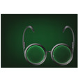 black glasses on a green vector image