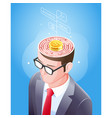 brain maze with gold coin in businessman head vector image vector image