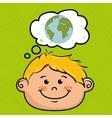 cartoon boy map global vector image
