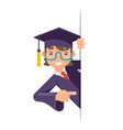 cartoon graduate boy look out corner promotion vector image vector image