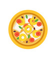 cartoon pizza with various ingredients tomatoes vector image vector image