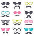 cartoon retro sunglasses and mustache vector image vector image