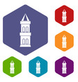 castle tower icons set hexagon vector image vector image