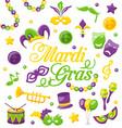 celebration background with set mardi gras vector image