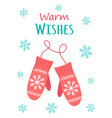 christmas card with cute mittens vector image