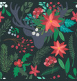 christmas floral seamless pattern with deer vector image vector image