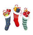 christmas socks with presents winter vector image