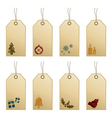 Christmas tags with icons vector image vector image