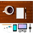 Coffee And Notepad On Wooden Table Composition vector image