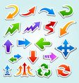 colorful cartoon arrow icons with white strokes vector image